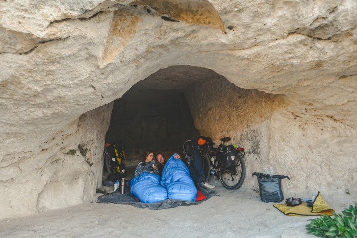 best wild campsites, in a cave Matera