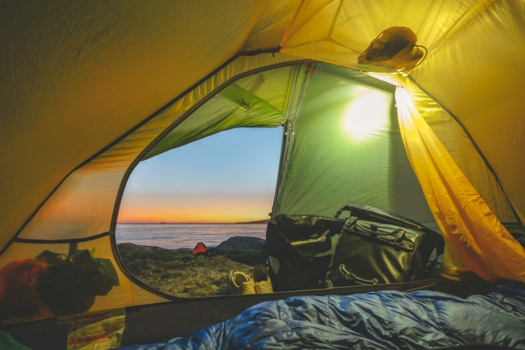 Looking out of tent