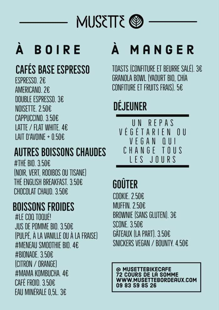 musette speciality coffee menu